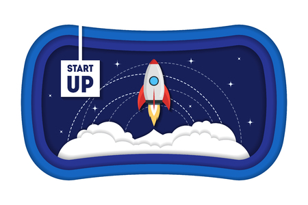 Cartoon symbol start-up concept, space ship rocket vector illustration Illustration