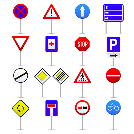 Road signs color icons set instruction and direction concept web style design.