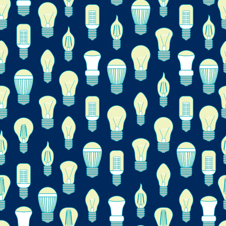Different lamp or light bulbs line pattern on a blue for web. Illustration
