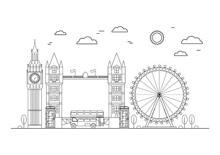 london tower bridge: London City on a White Background Thin Line Pixel Perfect Art. Material Design. Vector illustration