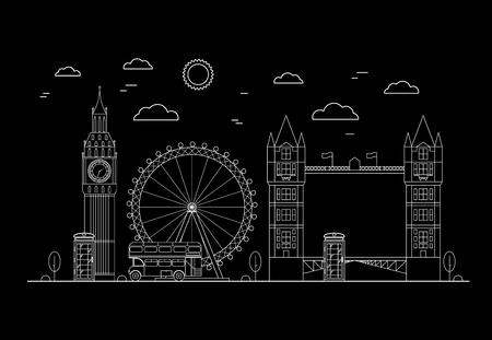 London City on a Dark Background Thin Line Pixel Perfect Art. Material Design. Vector illustration Illustration