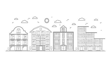office building: Linear Buildings on the Street a White Background. Design Elements for City. Vector illustration