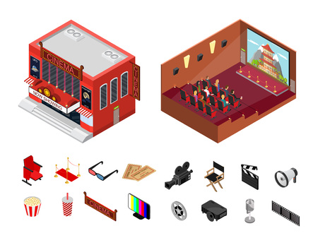 Cinema Building Isometric View Modern Exterior Facade and Interior Auditorium for Cinematography Movie Show Business. Vector illustration Illustration