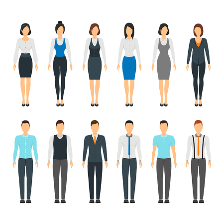 Cartoon Business People Set Staff Formal Dress Style Fashion Hairstyle for Men and Women Flat Design. Vector illustration of office peoples dresses