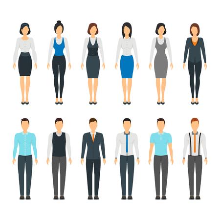 Karikatur-Geschäftsleute stellen Personal-formales Kleiderart-Mode-Frisur für Männer und Frauen flaches Design ein. Vektorillustration von Büropersonenkleidern Vektorgrafik