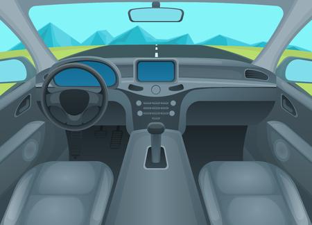 Innerhalb Auto oder Auto Innenraum Komfort Kabine mit Rad und Blick auf Straße im Fenster. Vektor-Illustration