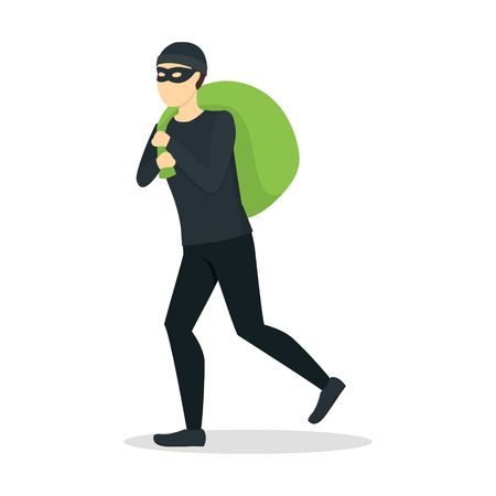 Cartoon Criminal Man or Thief in Mask with Full Bag Flat Style Design. Vector illustration