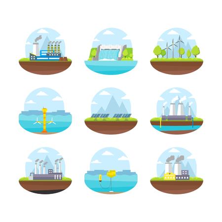 Cartoon energy generation color icons set. Illustration