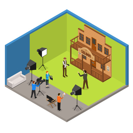 Interior Television Studio Isometric View Furniture, Equipment, Worker and Actors People Cinema Wild West. Vector illustration of film making Vettoriali