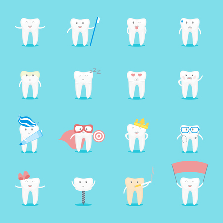 Cartoon Cute Tooth Characters Set Funny Element Prevent and Protection Dental Health Flat Design Style. Vector illustration of teeth hero