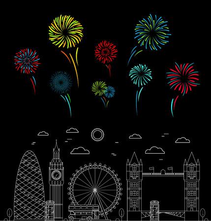 London City and Color Celebration Fireworks on a Dark Background Public City Festival. Vector illustration