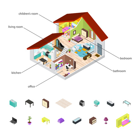 House in Cutaway and Element Set Isometric View Basic Room of Apartment, Section Building with Furniture. Vector illustration Illustration