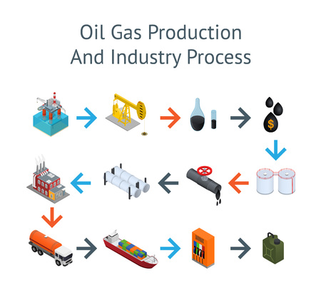 Oil Industry and Energy Resource Process Card. Illustration