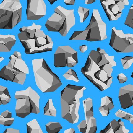 heavy: Cartoon Rocks and Stones Pattern on a Blue. Illustration