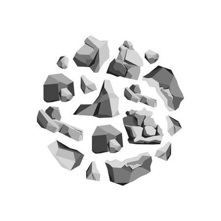 cobble: Cartoon Rocks and Stones Round Design Template Concept. vector illustration.