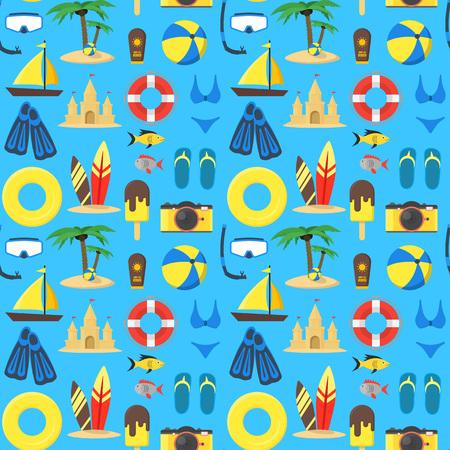 Summer Rest Background Pattern on a Blue. vector illustration. Illustration