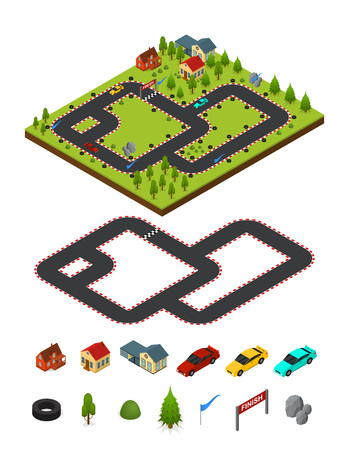 Track Racing and Element Set Isometric View. vector illustration.