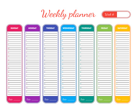 Weekly Planner Template. Vector illustration.