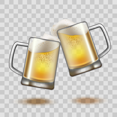 Realistic Detailed Full Beer Glass Mugs on a Transparent Background. Vector illustration.  イラスト・ベクター素材