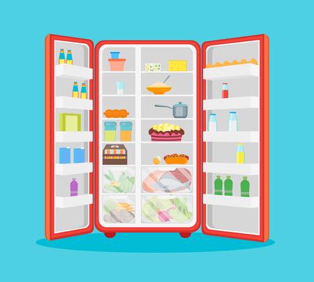 Cartoon Opened Refrigerator Full Of Food. Vector