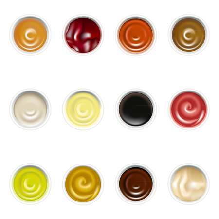 Realistic Detailed Sauces in Plate Set Top View. Vector