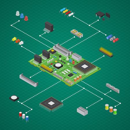 Computer Elektronische Circuit Board Component Set Isometrische Bekijk Vector