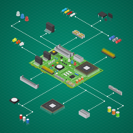 Computer Electronic Circuit Board Component Set Isometric View Vector