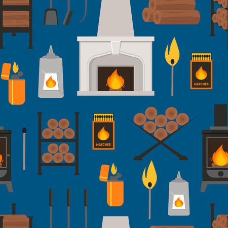 Cartoon Fireplace Background Pattern. vector illustration.