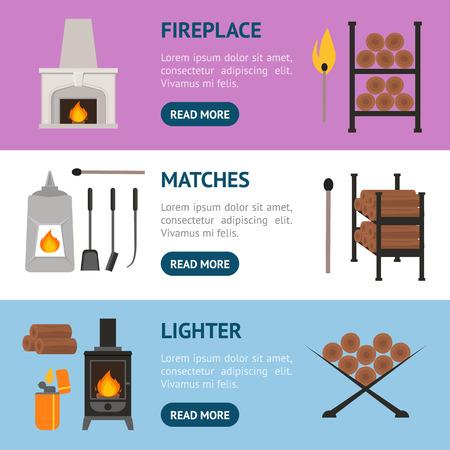 fireplace lighter: Cartoon Fireplace Banner Horizontal Set. vector illustration. Illustration