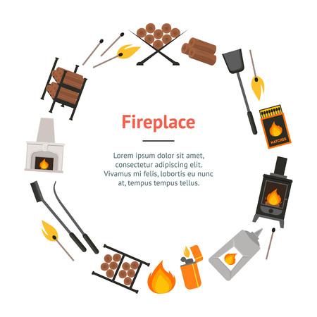 fireplace lighter: Cartoon Fireplace Banner Card Circle . vector illustration. Illustration