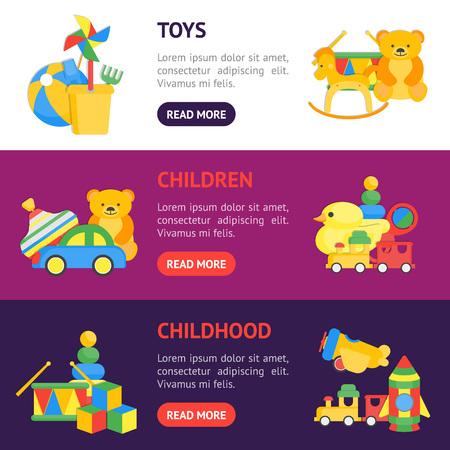 Child Toys Banner Horizontal Set. vector illustration.