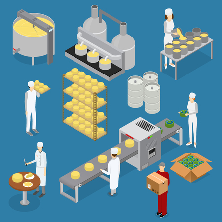 cheddar: Factory Cheese Production Line Elements and Staff. Vector Illustration