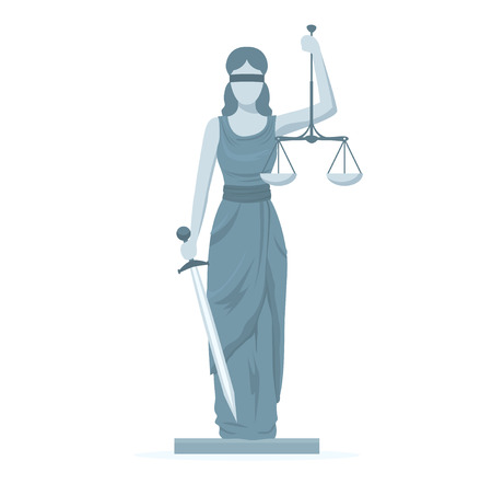 Cartoon Statue of Femida. Vector Ilustrace