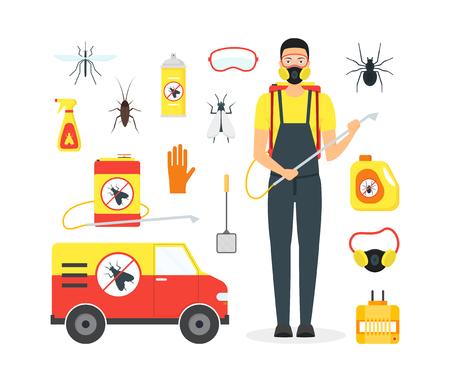 Cartoon Pest Control Service Business. Vector Illustration