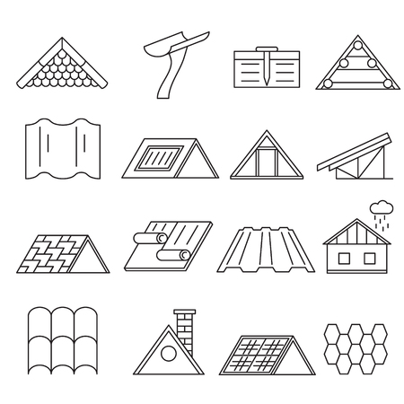 Concept House Roof Construction Thin Line Icon Set. Vector