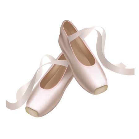 現実的な詳細なポワント シューズ白い背景にファッション ペア ダンス。伝統的な履物バレリーナのベクトル イラスト