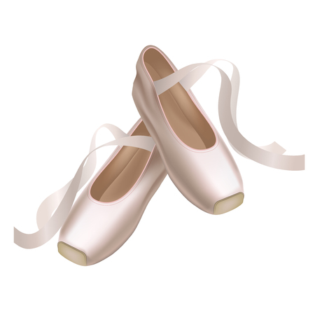 Realistic Detailed Ballet Pointe Shoes Fashion Pair on a White Background for Dance. Vector illustration of Traditional Footwear Ballerina
