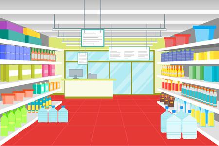 Cartoon Interior Shop or Supermarket with Furniture. Vector