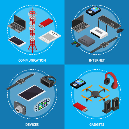 Technology Devices Poster Card Set Isometric View. Vector
