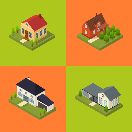 rural development: Residential Building for City and Village Poster Card Set Isometric View Architecture Modern Exterior Facade. Vector illustration Illustration