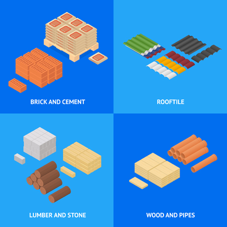 Construction Material Poster Card Set Isometric View Supply for Renovation of Buildings Design Element Web. Vector illustration. Illustration