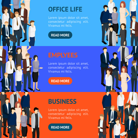 Business People Resource Banner Horizontal Set Isometric View Office Life Concept for Web. Vector illustration
