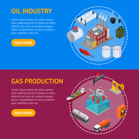 Oil Industry and Energy Resource Banner Horizontal Set Isometric View. Vector Illustration