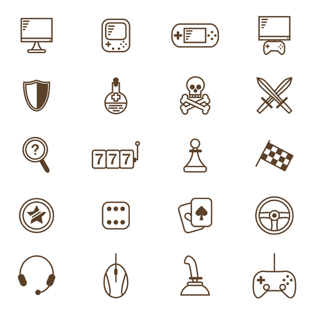 preference: Gambling, Table and Computer Game Thin Line Icon Set for Web and App. Vector illustration of Gaming Symbol
