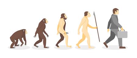 Scène de dessin animé de l'évolution humaine du singe au Concept de développement d'homme d'affaires Style Design plat. Illustration vectorielle de Process Evolve Man