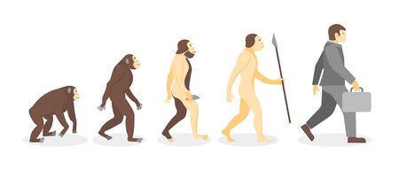 Cartoon Stage of Human Evolution from Monkey to Businessman Development Concept Flat Design Style. Vector illustration of Process Evolve Man Illustration
