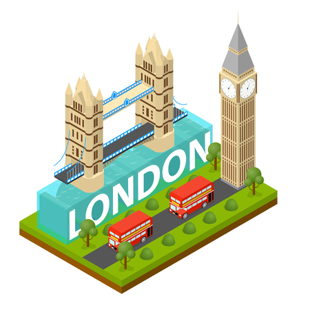 London City Famous Landmark of Capital England Symbol Britain Travel Business Concept Isometric View. Vector illustration of English Panorama Monument Illusztráció