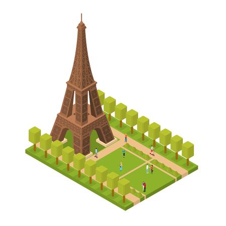 Eiffel Tower Famous Landmark of Paris Isometric View. Vector Illustration
