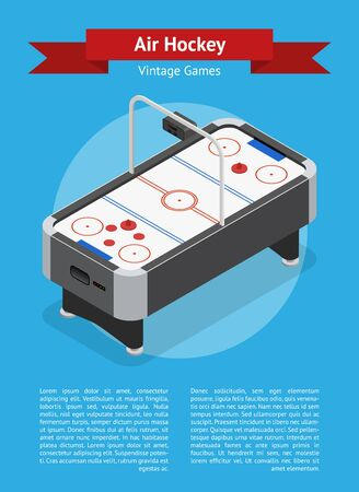 hockey goal: Table Air Hockey Game Banner Card Isometric View.