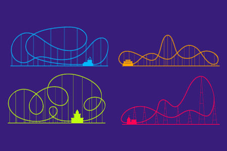 Parc d'attractions Roller Coaster Color Silhouettes Set.